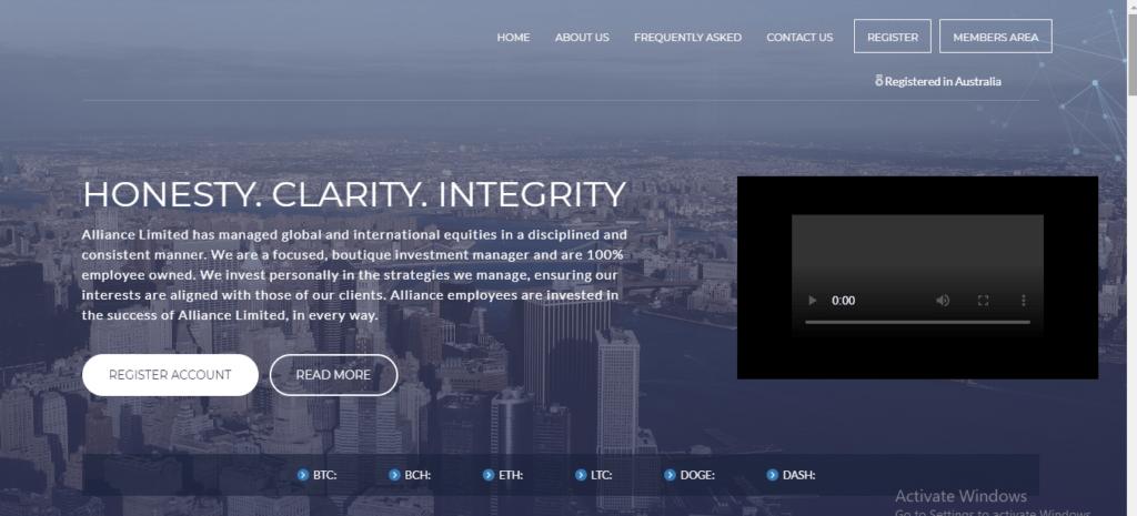 Alliance Limited Scam Review, Alliance Limited Platform