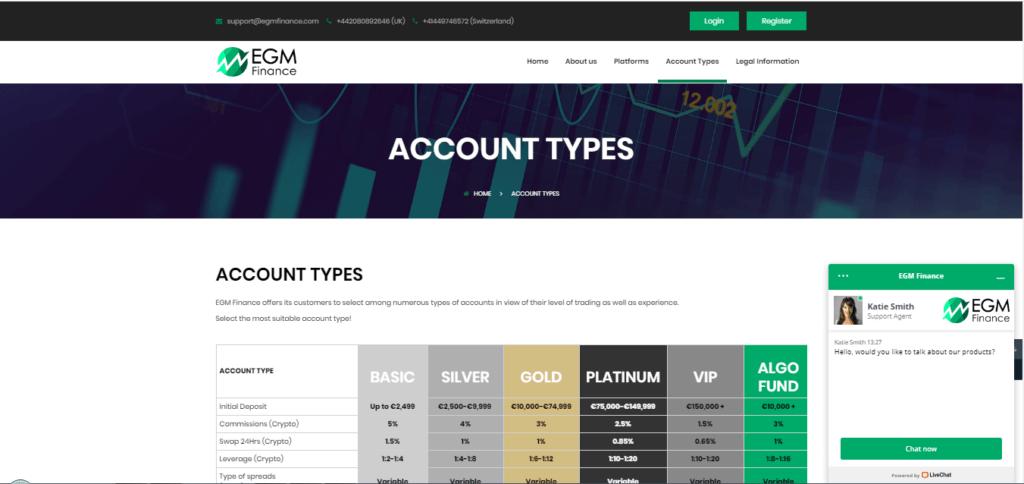 EGM Finance Account Details