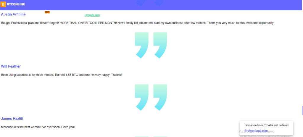 Btconline.io Scam Review, Btconline.io Testimoials