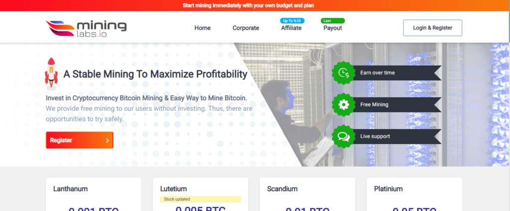 Mining Labs Scam Review, Mininglabs.io Platform