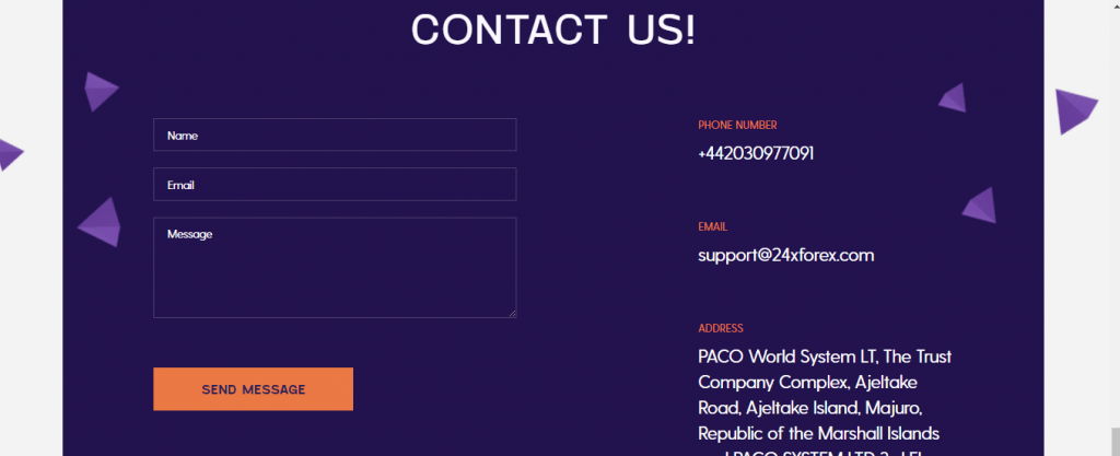 Revisão de scam 24XFOREX, informações de contato 24XFOREX