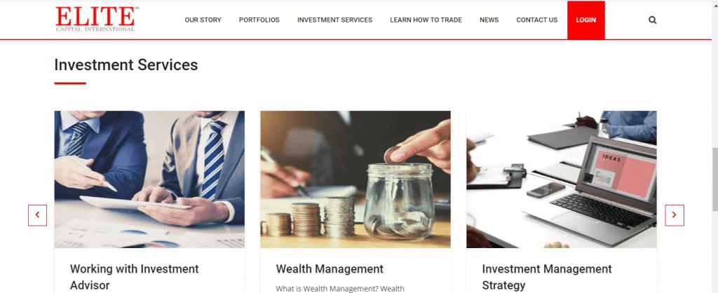 Avaliação de embuste da Elite Capital International, Serviços oferecidos da Elite Capital International