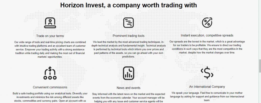مراجعة احتيال Horizon Invest ، ميزات Horizon Invest