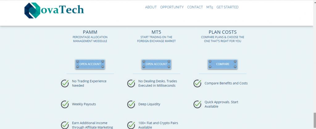 NovaTech Ltd Scam Review, Типы учетных записей NovaTech Ltd