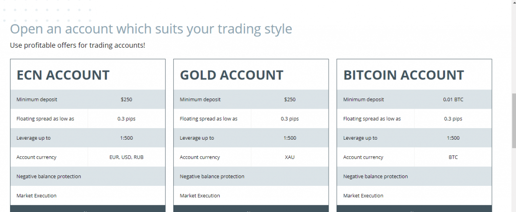 Optimus Markets Scam Review, Optimus Markets Account Types