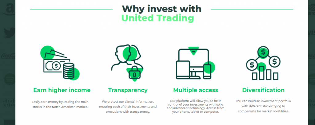 The United Trading Scam Review, Les fonctionnalités de United Trading