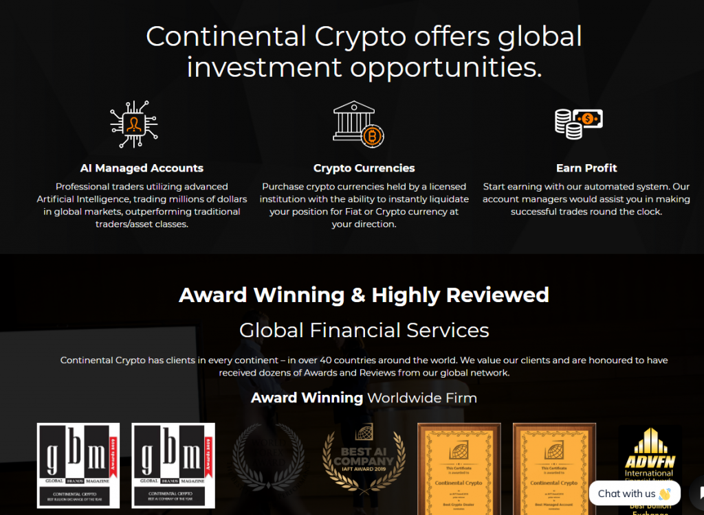 Continental Crypto Scam Review, Continental Crypto Features