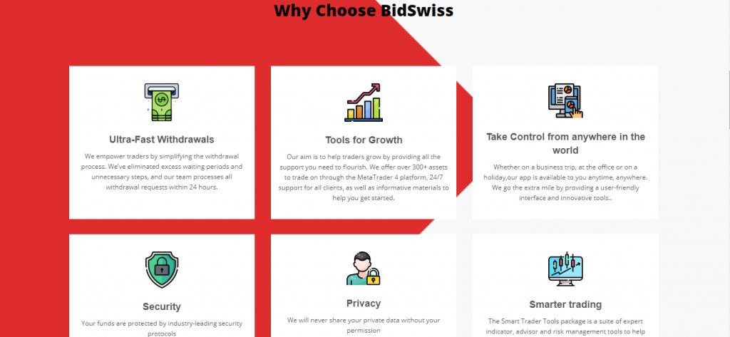 Examen de Bidswiss.net, Fonctionnalités de Bidswiss