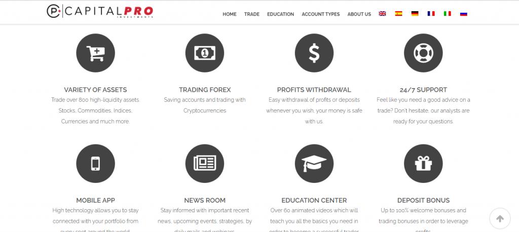 CapitalPro-Inv.com Review, CapitalPro-Inv.com Features