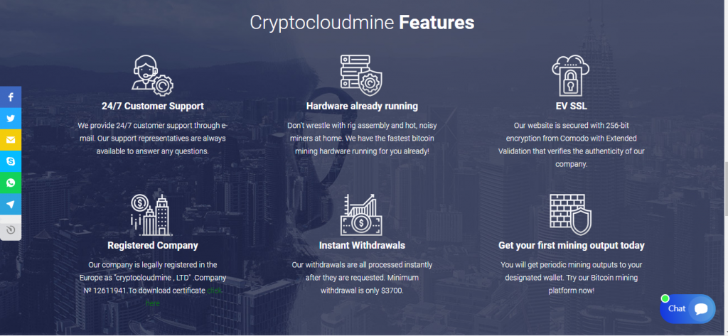 Cryptocloudmine.live Review, Cryptocloudmine.live Features