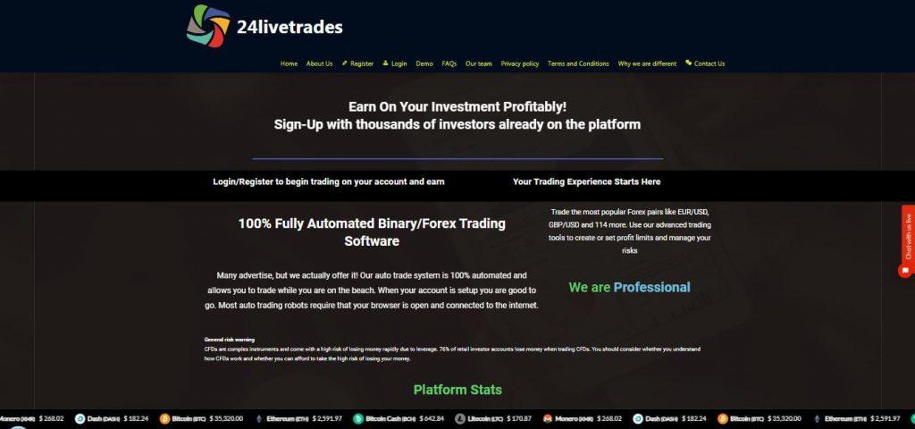 24livetrades Profit Claims/ Account types